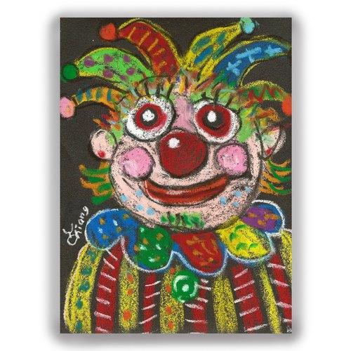 手绘插画万用卡--小丑b