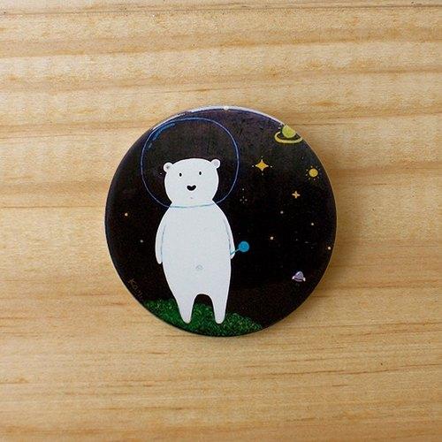 kami插画可爱别针-太空熊
