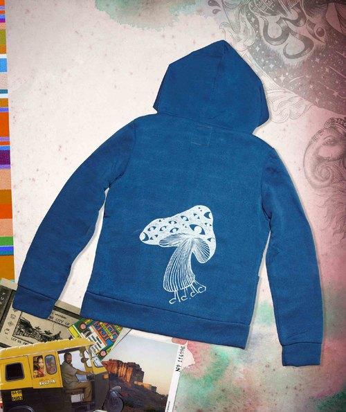 手感連帽刷毛外套-尼泊爾香菇(藍色)