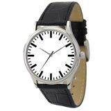 簡約手錶(白面粗條紋)