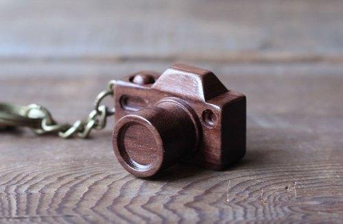 手工木制微型相机 深核钥匙圈
