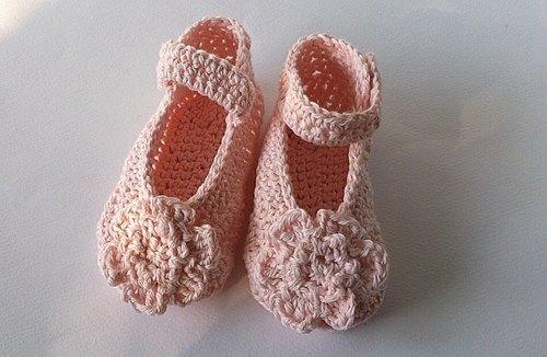 女宝宝弥月礼 粉色小花钩织娃娃鞋 婴儿鞋 - sweet 手