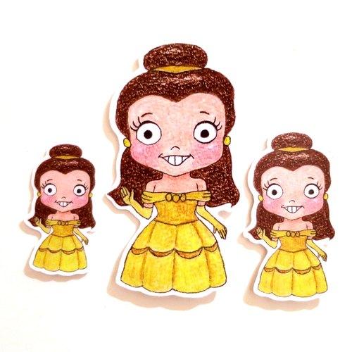 色铅笔手绘傻呼呼公仔娃娃防水贴纸--美女与野兽贝儿公主3入(编号30)