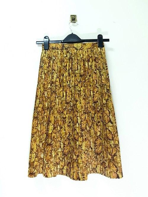 茶色黄色手绘印花纹 细百褶裙 pdb 日本古着