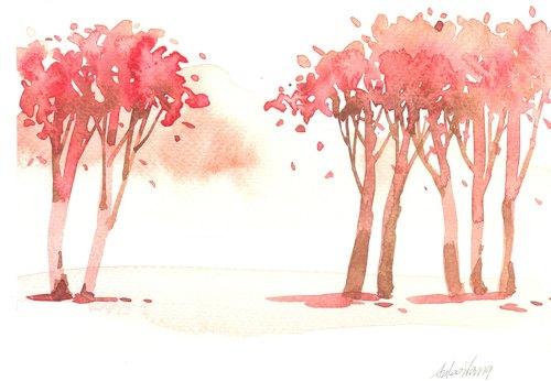 """""""疗愈系树林系列1-38""""水彩手绘限量版明信片/贺卡"""