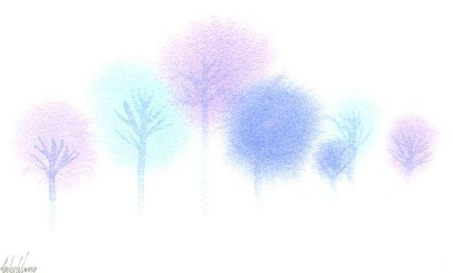 """""""疗愈系树林系列1-16""""水彩手绘限量版明信片/贺卡"""
