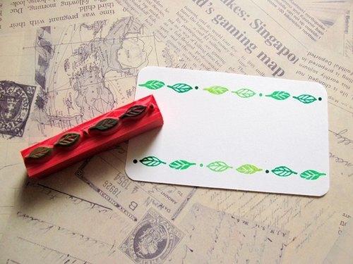 apu手工橡皮章 实用小树叶花边章 手帐印章