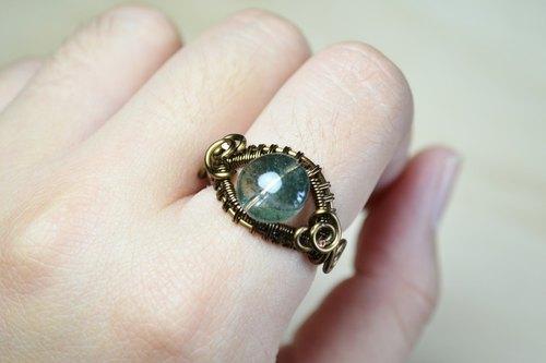 绿幽灵设计戒指-手工/金属线/水晶/铜线