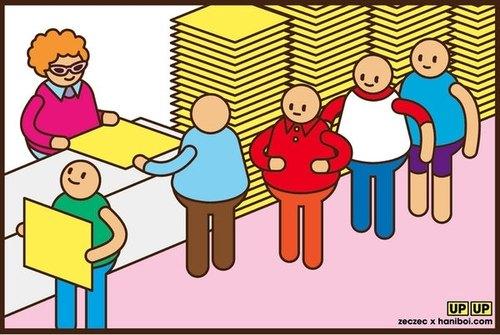 举牌小人上班啰~排队跟举牌阿姨领牌子准 备 上 工 !