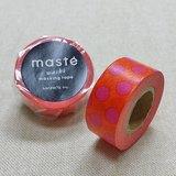 日本 maste 和紙膠帶 Basic 限定系列【水玉點點/橘 (MST-MKT38-OR)】