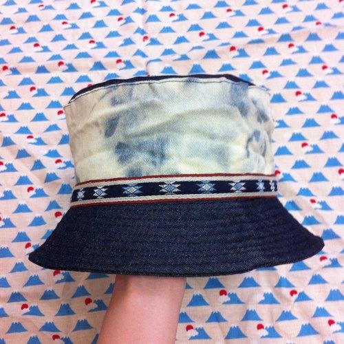 手工制作 超商取货 台湾出品 原创设计 手工制作 漂色牛仔渔夫帽-双面