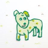綠點點小狗繡花別針 / 貼布 ☆