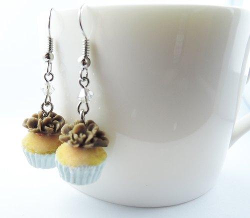 手工制作自家黏土制品甜点系列核挑巧克力杯子蛋糕耳环戒指套组