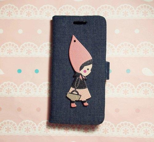 布艺 牛仔系列 可爱小粉帽女孩 手机套 手机壳 三星 apple iphone 5s
