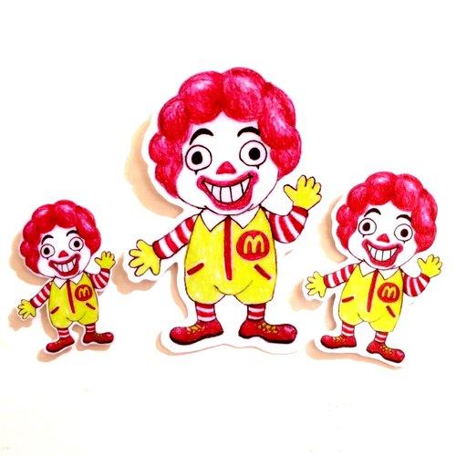 色铅笔手绘傻呼呼公仔娃娃防水贴纸--傻呼呼麦当劳叔叔3入(编号16)