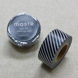 日本 maste 和紙膠帶 Basic 限定系列【斜條紋/黑 (MST-MKT42-BK)】