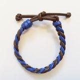 「咖啡藍雙色麻花仿皮繩」