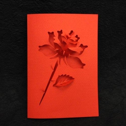 立体纸雕玫瑰卡片(情人七夕表心意)
