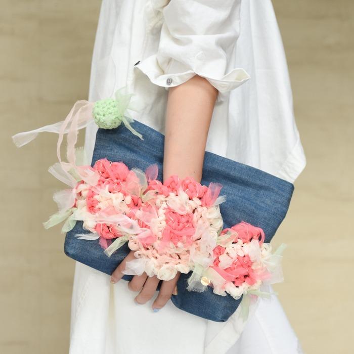 日本品牌 Chiko 花漾編織 手拿包