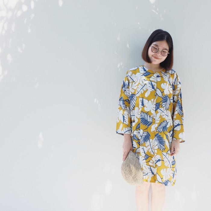 泰國服裝品牌 katji-cozytime 秋日金黃色洋裝