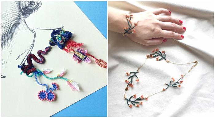 日本刺繡飾品 arro 胸針和項鍊耳環