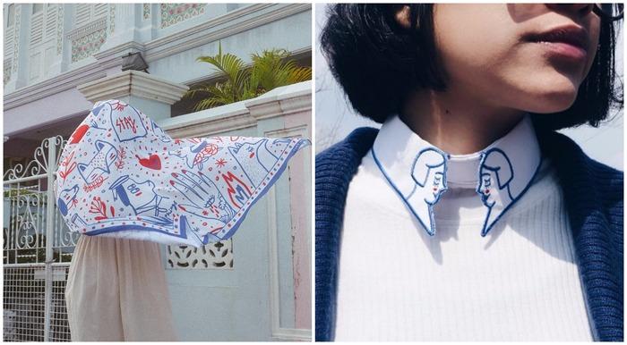 印尼插畫 liunic on things vivetta 領子 絲巾
