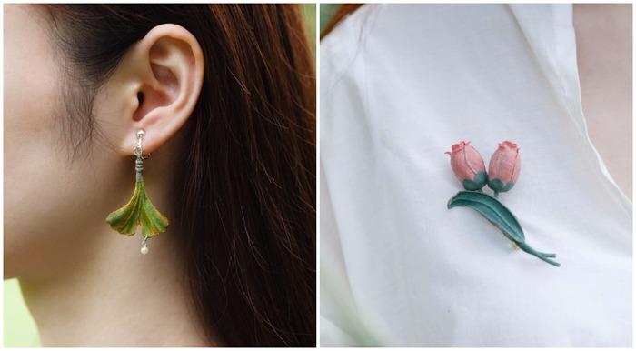 中國花草系品牌初朵 耳環 胸針