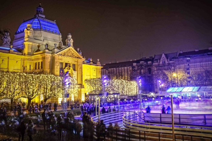 Christmas market in Zagreb Croatia Europe with an ice rink