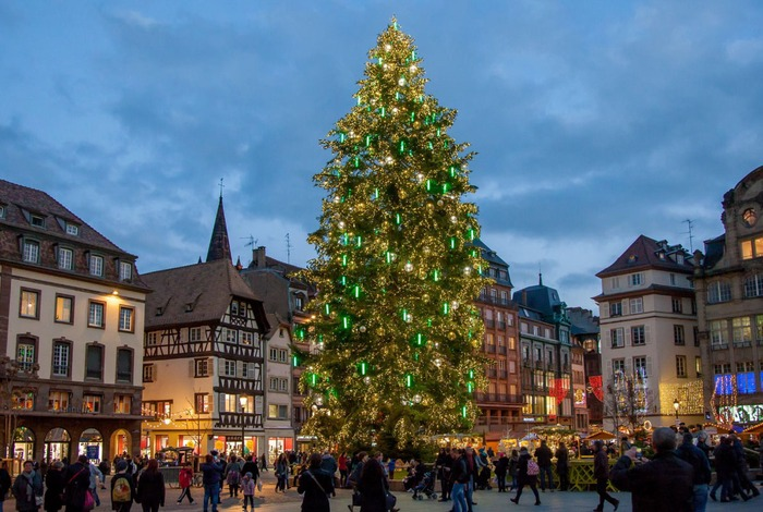 Christmas market in Strasbourg France Europe of a Christmas tree