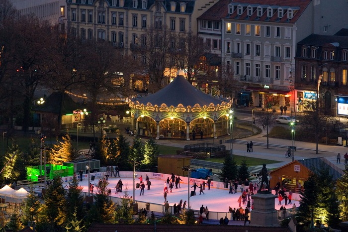 Christmas market in Colmar France Europe with ice skating