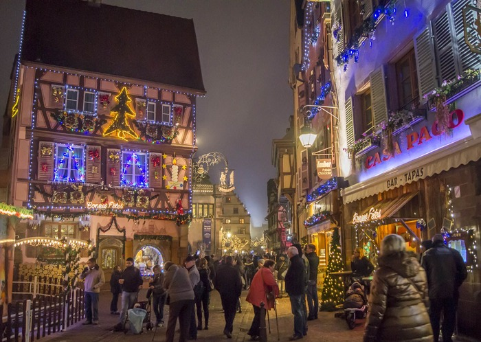 Christmas market in Colmar France Europe with Christmas lights