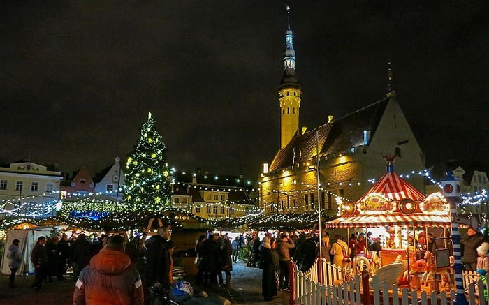Christmas market in Tallinn Estonia Europe