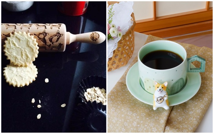 Corgi cookie roller and coffee cup