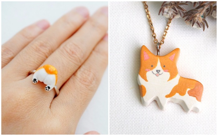 Corgi butt rings and necklace