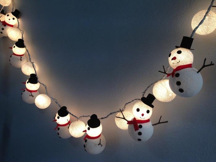 裝飾聖誕節的雪人棉球掛燈燈飾