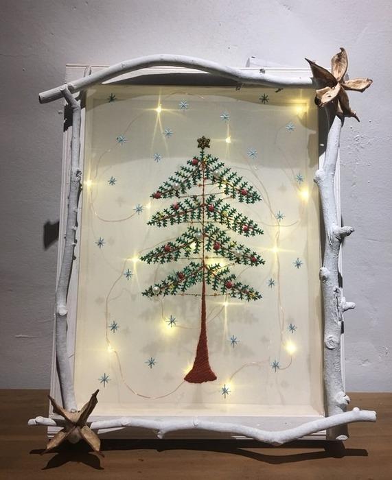 裝飾聖誕節的手工木框星星聖誕樹擺飾