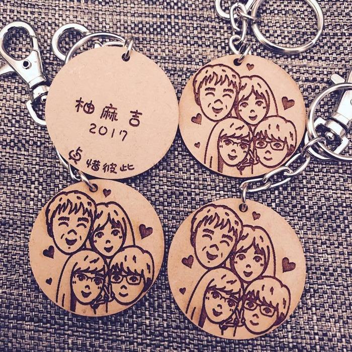 情人節禮物 客製化鑰匙圈 插畫