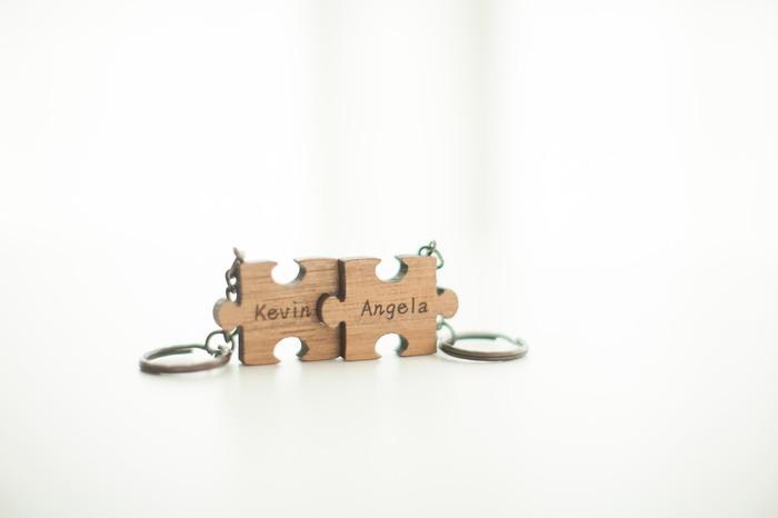 情人節禮物 客製化鑰匙圈 原木拼圖