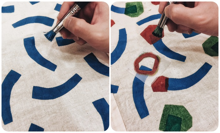 Coloring in the templates with stenciling DIY wrapping paper