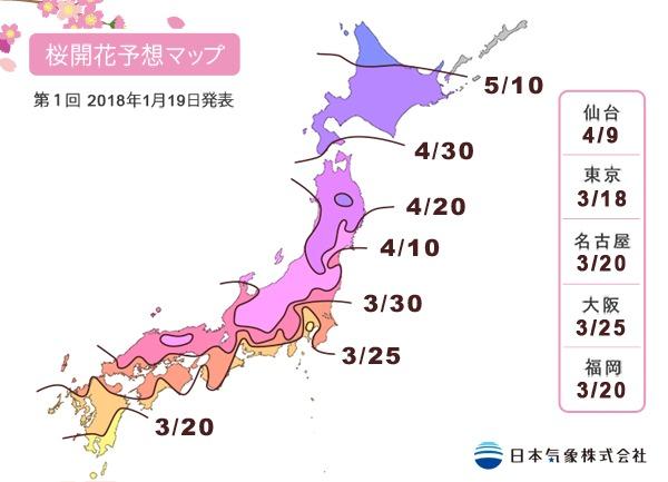 日本東京大阪櫻花季 櫻花前線