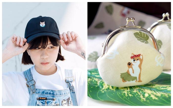 柴犬 刺繡 棒球帽 口金包
