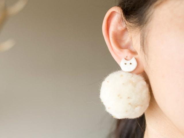 日本飾品推薦 白色貓咪耳環