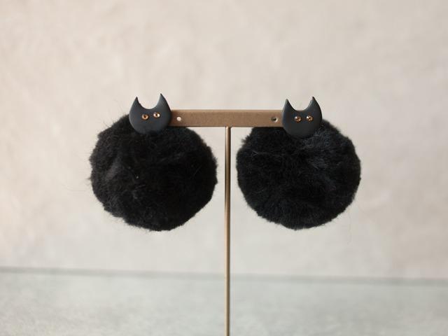 日本飾品推薦 黑色貓咪耳環