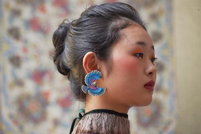 日本飾品推薦 飛鳥刺繡耳環