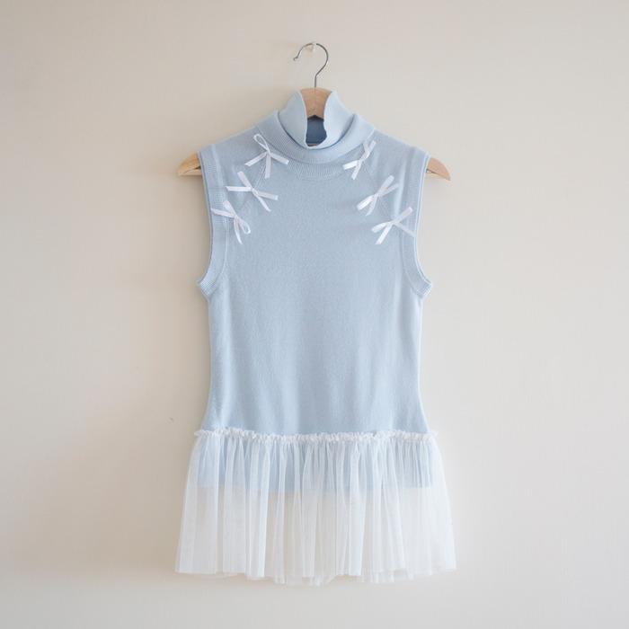 香港回收時裝 who am i 的粉藍蝴蝶結針織背心