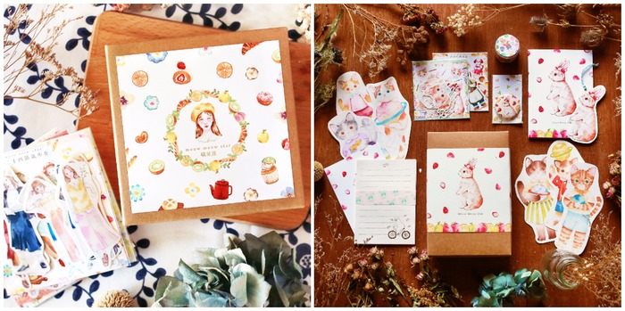 Meow Meow Star packaging and cute animals stationery set