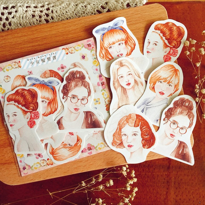 Meow Meow Star red-headed girls sticker set