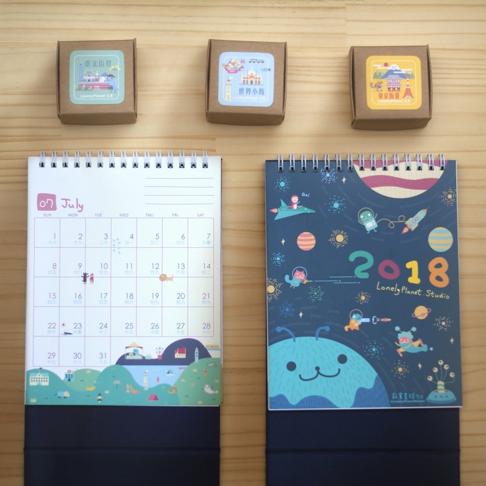 Lonely Planet 2018 Table calendar and washi tapes