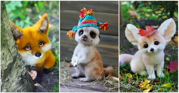 ロシアのアーティストが作った羊毛フェルトの作品立たち