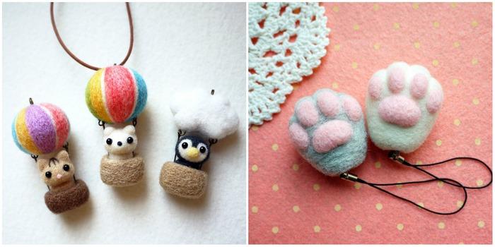 かわいい羊毛フェルトの動物たち
